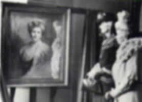 Irene, Marchioness of Carisbrooke with Queen Mary (right) at the unveiling of the de László portrait of Alexander's mother -  Princess Beatrice, Princess Henry of Battenberg