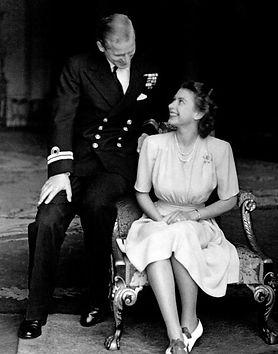 An engagement photo of Princess Elizabeth (now Queen Elizabeth II)  & Philip 