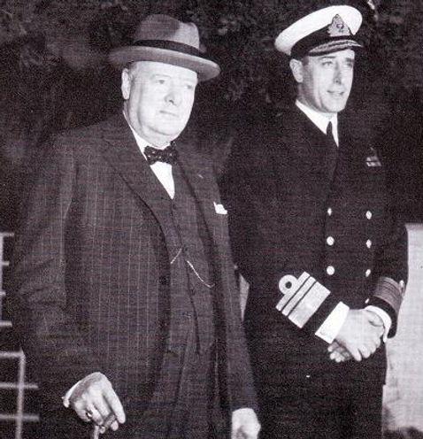 The Casablanca Conference - Prime Minister Winston Churchill (left) with Mountbatten, who was then Chief of Combined Operations 