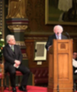 President Michael D. Higgins addressing both Houses of Parliament at The Palace of Westminster.  The Speaker of The House of Commons -  The Rt Hon. John Bercow, is seated left  