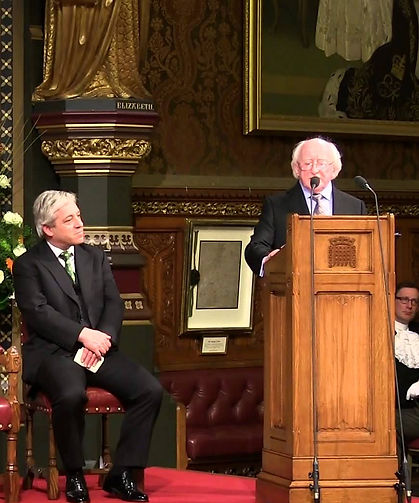 President Michael D. Higgins addressing both Houses of Parliament at The Palace of Westminster.  The Speaker of The House of Commons -  The Rt Hon. John Bercow, is seated left  ​