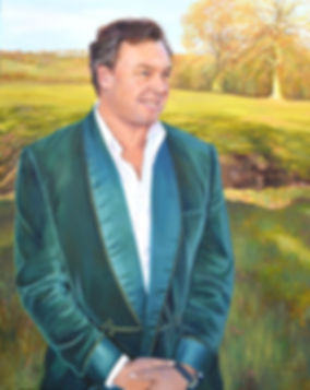 A portrait of George, The Marquess of Milford Haven by Gillian Erskine-Hill 
