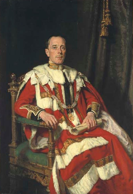 The 1937 portrait of Alexander in Parliamentary Robes, wearing the collar of a Knight Grand Cross of the Order of the Bath by Alfred Egerton Cooper