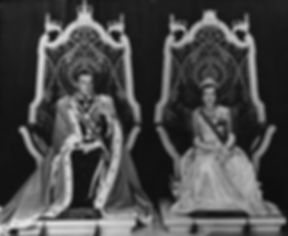 Mountbatten & Edwina - the Viceroy & Vicereine of India, seated upon the Vice-regal thrones within the Durbar Hall (Throne Room) in the Viceroy's House, New Delhi