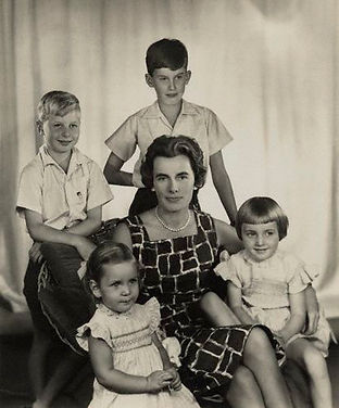 Patricia, Lady Brabourne, later 2nd Countess Mountbatten of Burma (centre) surrounded by her children in 1959 (right to left) - Norton, Joanna, Amanda & Michael-John