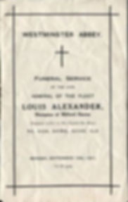 The Order of Service for the funeral of Louis, 1st Marquess of Milford Haven at Westminster Abbey