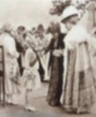 Queen Alexandra & Queen Mary with the bridesmaids at the wedding of Mountbatten & Edwina