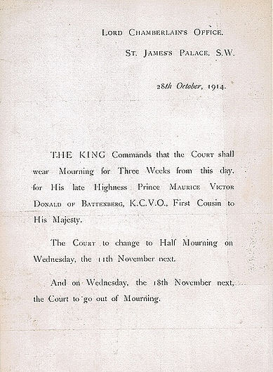 Notice from the Lord Chamberlain concerning Court Mourning following the death of Prince Maurice of Battenberg