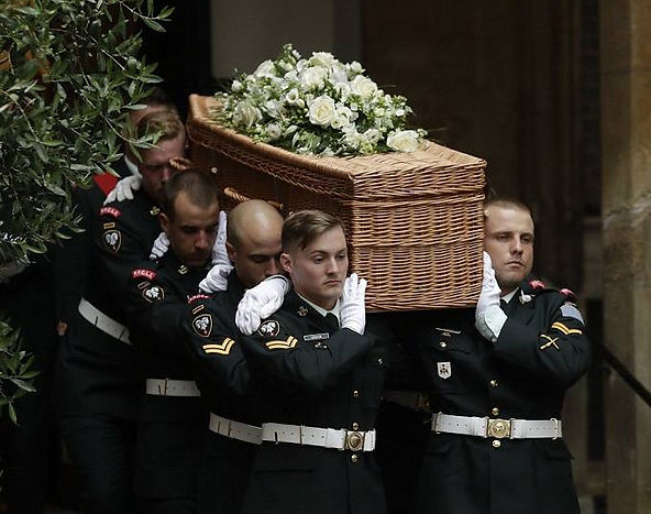Patricia's coffin at St Paul's Church,  Knightsbridge, London. The pallbearers were members of the Princess Patricia's Canadian Light Infantry (PPCLI) - of which Patricia was Colonel-in-Chief 1974-2007