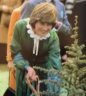Lady Diana Spencer (later The Princess of Wales) planting a tree at the opening of the Mountbatten Exhibition in May 1981 by Prince Charles, The Prince of Wales 