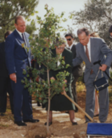  Prince Philip, The Duke of Edinburgh & his sister -  Princess Sophie, Princess George William of Hanover planting a tree at Vad Yashem in honour of their mother 