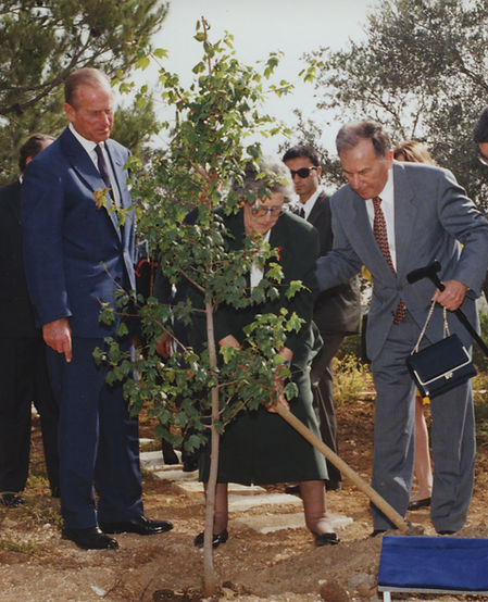 ​ Prince Philip, The Duke of Edinburgh & his sister -  Princess Sophie, Princess George William of Hanover planting a tree at Vad Yashem in honour of their mother ​