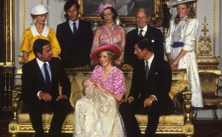 The christening of Prince William of Wales, later The Duke of Cambridge in 1982 -  back row - Princess Alexandra, The Hon. Lady Ogilvy; and Norton; The Lady Susan Hussey (Baroness Hussey of North Bradley); Sir Laurens van der Post; The Duchess of Westminster; front row (seated) - King Constantine II,  The King of the Hellenes; The Princess of Wales (holding baby Prince William) & Prince Charles, The Prince of Wales 