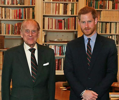 ​ Philip with his grandson -  Prince Harry, Duke of Sussex upon his appointment as Captain-General of HM Royal Marines, succeeding Philip ​