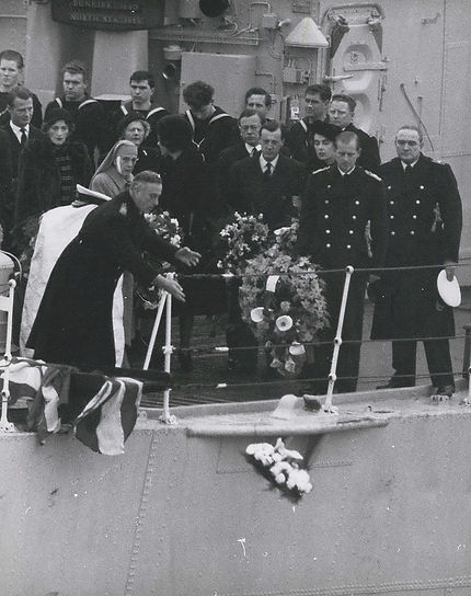 The Funeral of Edwina, Countess Mountbatten of Burma -  Mountbatten casts his wreath following Edwina's coffin being buried at sea in the Solent, off the coast of Portsmouth, Hampshire 