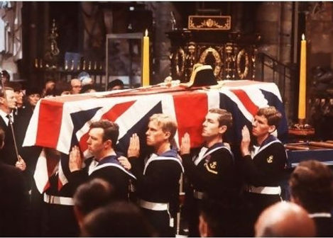 Mountbatten's coffin in Westminster Abbey 