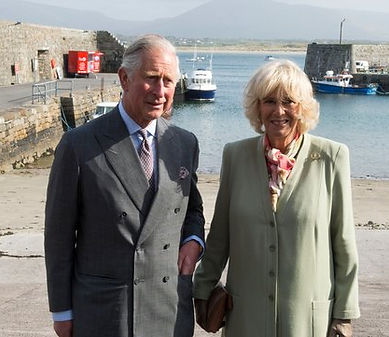 Prince Charles, The Prince of Wales - with his wife Camilla, The Duchess of Cornwall at the harbour at Mullaghmore, Sligo