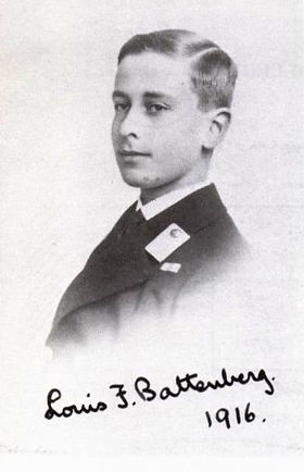 Mountbatten in 1916 prior to joining HMS Lion as a Midshipman