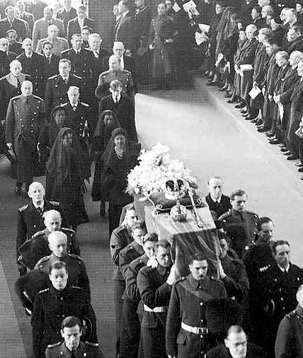 The Funeral Procession of King George VI in St George's Chapel, Windsor Castle - Mountbatten is behind his cousin The Duke of Windsor (the former King Edward VIII)