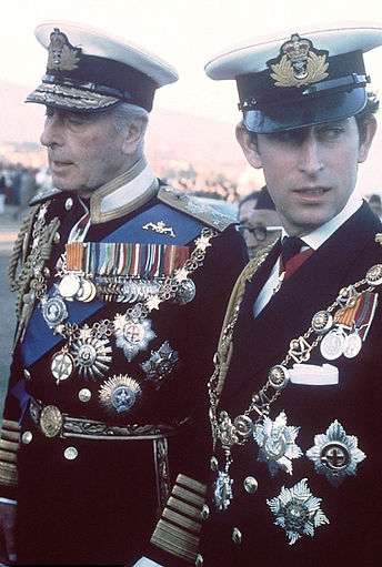Mountbatten with Prince Charles, The Prince of Wales at the Coronation of King Birendra of Nepal in 1975 ​
