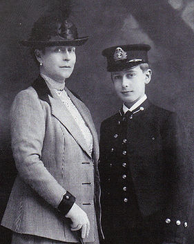 Princess Louis of Battenberg with Mountbatten as a Naval Cadet