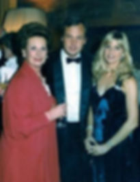 """George with his mother - Janet (left) and wife - Clare (right) at their """"farewell to Moyns Park"""" party"""