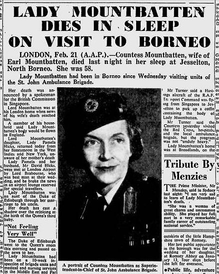 A newspaper article about Edwina's death 
