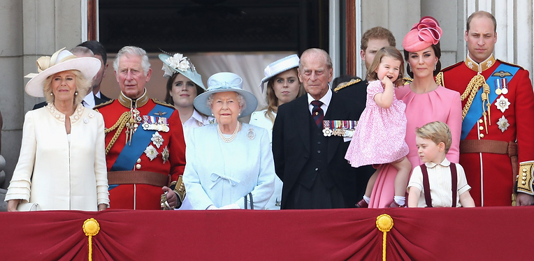 Members of the Royal Family on the balcony of Buckingham Palace following the Trooping of the Colour ceremony 2017 - Philip appeared for the first time not in uniform 