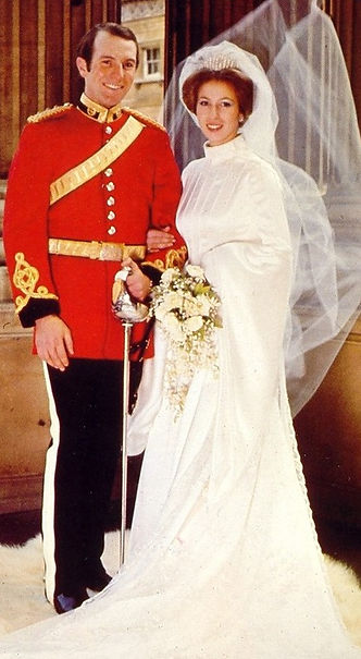 Captain Mark Phillips with Princess Anne following their wedding in 1973