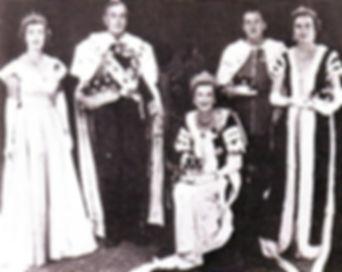 Mountbatten's family in Coronation Robes 1953 - (left to right) - Pamela, Mountbatten, Edwina (seated), John, 7th Lord Brabourne & Patricia 