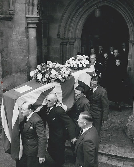 Mountbatten leading his family out of Romsey Abbey, behind Edwina's coffin 