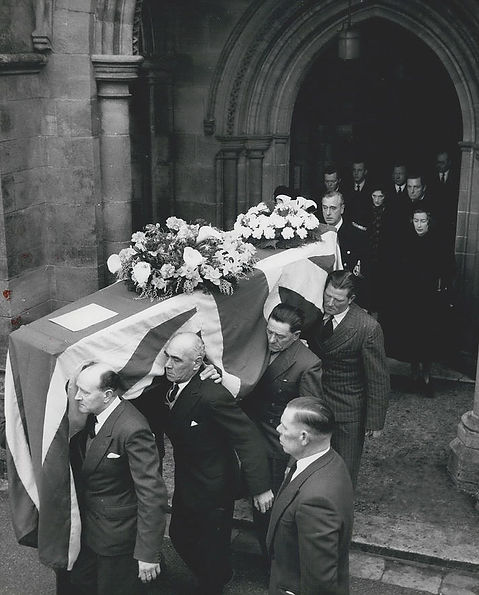 Mountbatten leading his family out of Romsey Abbey, behind Edwina's coffin ​