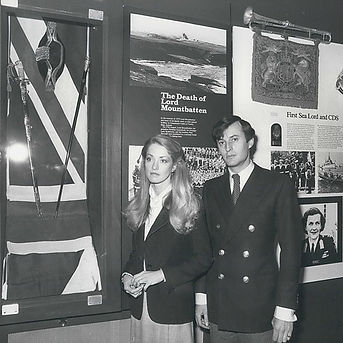 Penelope & Norton (then Lord & Lady Romsey) - now The Earl & Countess Mountbatten of Burma  at the Mountbatten Exhibition at Broadlands