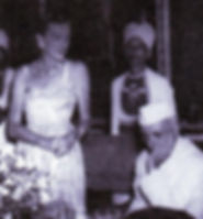 "Edwina at the official ""farewell"" dinner with a bereft Nehru (right)"