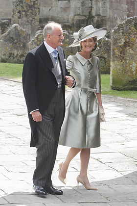 Parents of the bride - Norton, 8th Lord Brabourne & Penelope, Lady Brabourne arriving at Romsey Abbey for the wedding of their daughter Alexandra to Thomas Hooper 