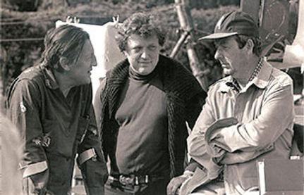 "John, 7th Lord Brabourne (still recovering from injuries from the explosion) with fellow producer Richard Goodwin (centre) and director on the set of the 1980 film ""The Mirror Crack'd"""