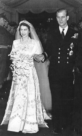 Princess Elizabeth (now Queen Elizabeth II) & Philip on their wedding day 