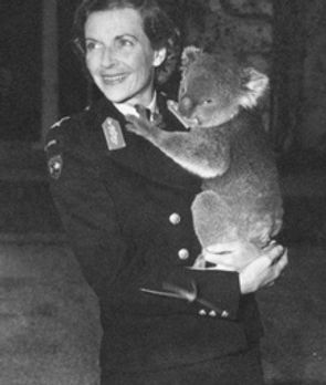 Edwina holding a koala bear whilst in Southern Australia 