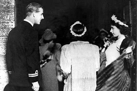 """The """"look"""" that gave the press the hint of a Royal romance between Prince Philip (left) and Princess Elizabeth (right)"""