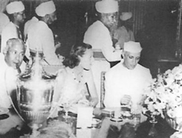 ​ Edwina (left) with Jawaharlal Nehru, the Prime Minister of the Dominion of India  at The Mountbattens' final farewell dinner ​