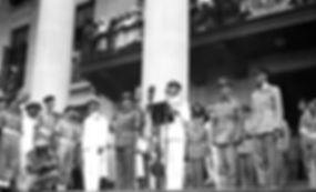 Mountbatten making a speech at Singapore Town Hall following the Japanese Surrender