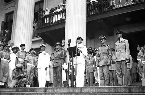 Mountbatten making a speech at Singapore Town Hall following the Japanese Surrender