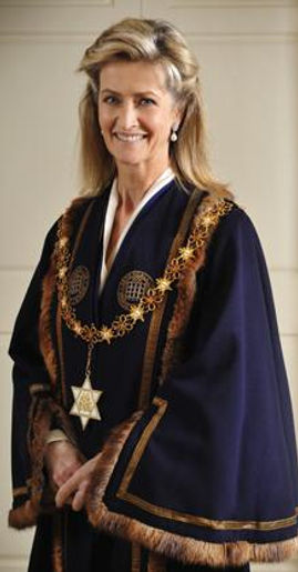Penelope (then Lady Brabourne), now Countess Mountbatten of Burma in her robes as High Steward of Romsey 