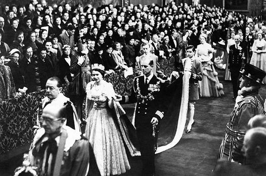 Queen Elizabeth II & Philip in the Royal Procession at the State Opening of Parliament - the first of the new reign in 1952 
