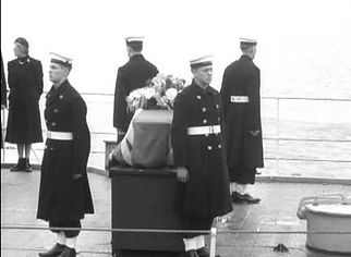 Edwina's coffin (draped in the Union Flag) onboard HMS Wakeful
