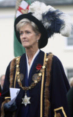 Penelope, Lady Brabourne - in the robes of High Steward of Romsey at a local civic parade for Remembrance Sunday 