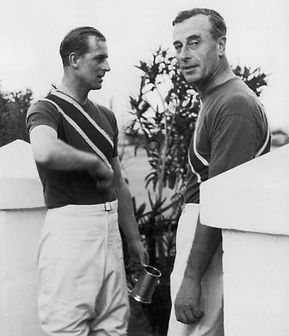 Philip with his uncle - Mountbatten (right) after a polo match  