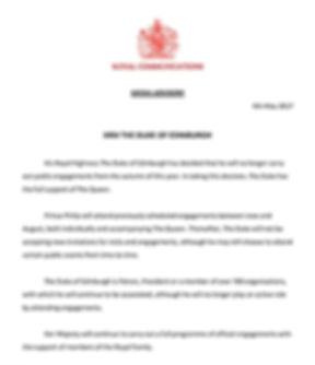 The Press Release from Buckingham Palace announcing Philip's retirement