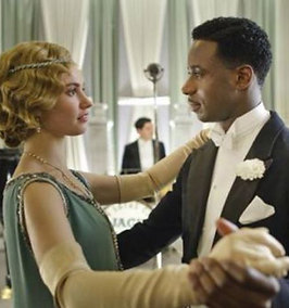 """""""Lady Rose MacClare"""" (portrayed by Lily James) & """"Jack Ross"""" (portrayed by Gary Carr) from TV drama """"Downton Abbey"""" """
