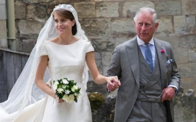 Alexandra with Prince Charles, The Prince of Wales arriving at Romsey Abbey, Hampshire prior to her wedding